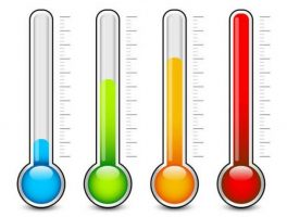 Illustration with 4 thermometers in different colors
