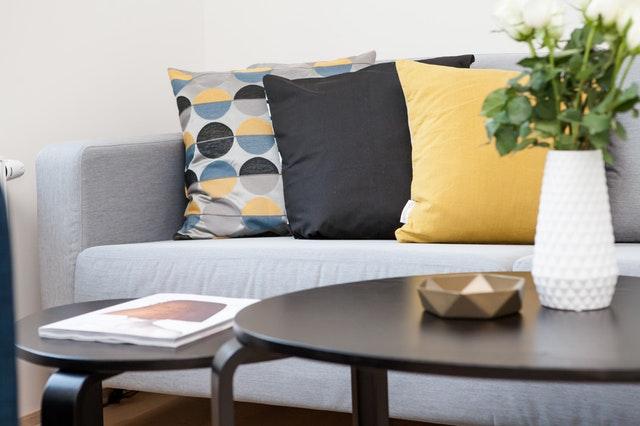 Centerpiece on coffee table beside sofa