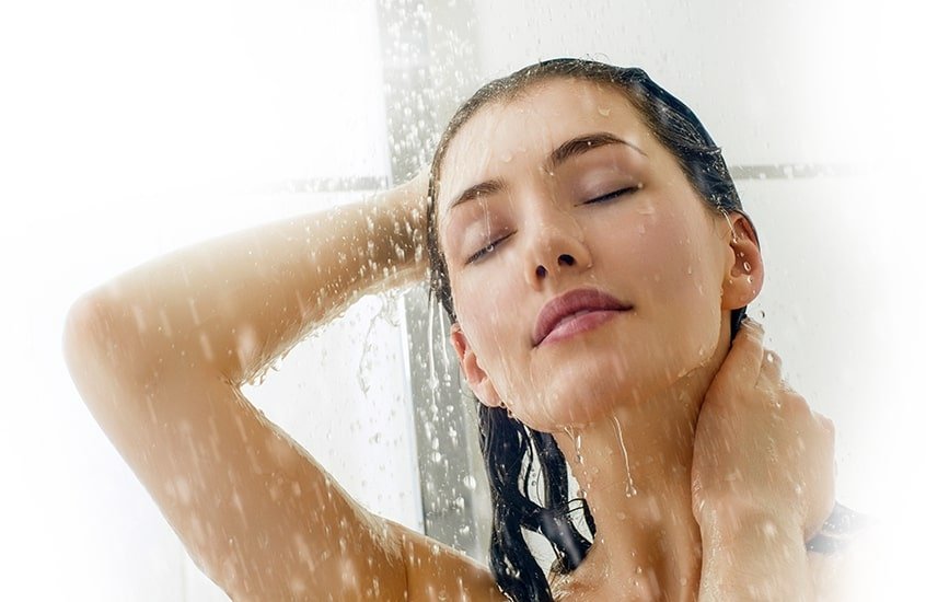 Asian woman taking a shower