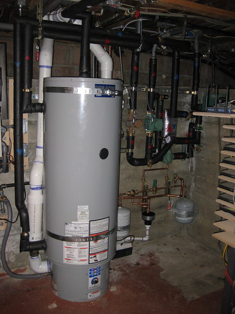 large sized grey water heater tank