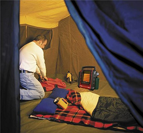 man inside the tent with infrared heater